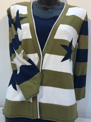 Stars & Stripes Cardigan - Olive