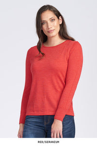 Crew Neck Fine Stripe Jumper - Red/Peony