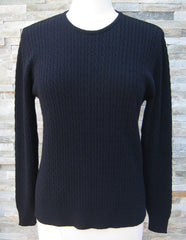 Cable Crew Neck Jumper - Navy