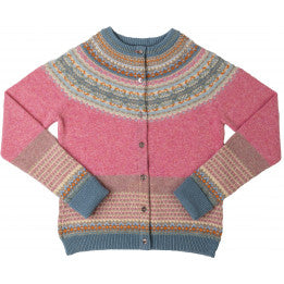Scottish Wool Fairisle Yoke Cardigan - Nougat