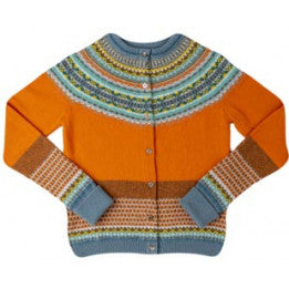 Scottish Wool Fairisle Yoke Cardigan - Turmeric