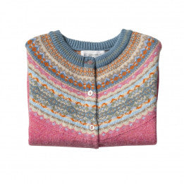 Scottish Wool Fairisle Yoke Short Length Cardigan - Nougat