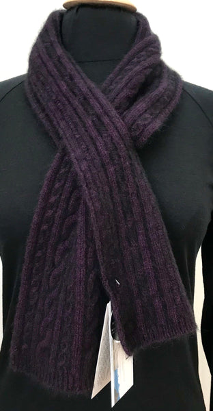 Scarf, Cable Keyhole - Grape