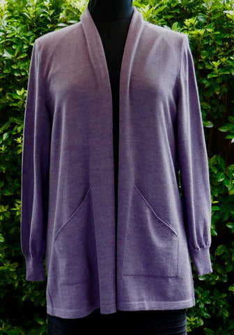 Long Open Front Cardigan - Thistle