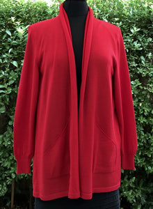 Long Open Front Cardigan (14/M)- Tamarillo
