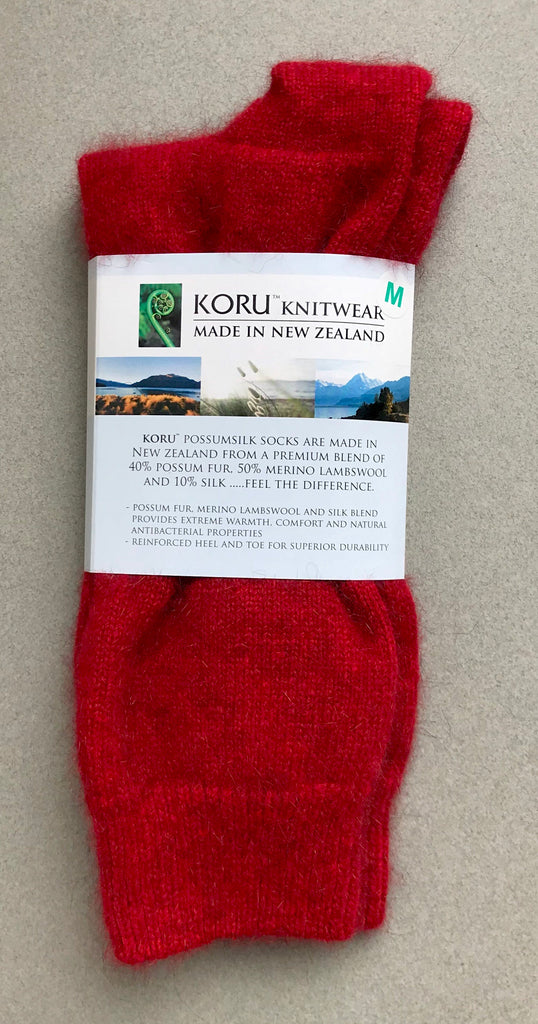 Possum Socks, Koru Dress  - Red