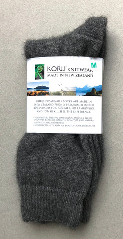 Possum Socks, Koru Dress  - Grey