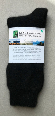 Possum Socks, Koru Dress  - Black