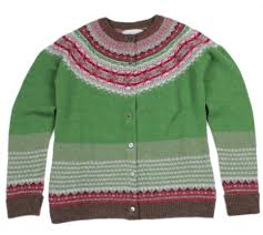 Scottish Wool Fairisle Yoke Cardigan - Watercress