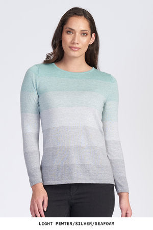 Graduated Stripe Jumper - Seafoam/Silver