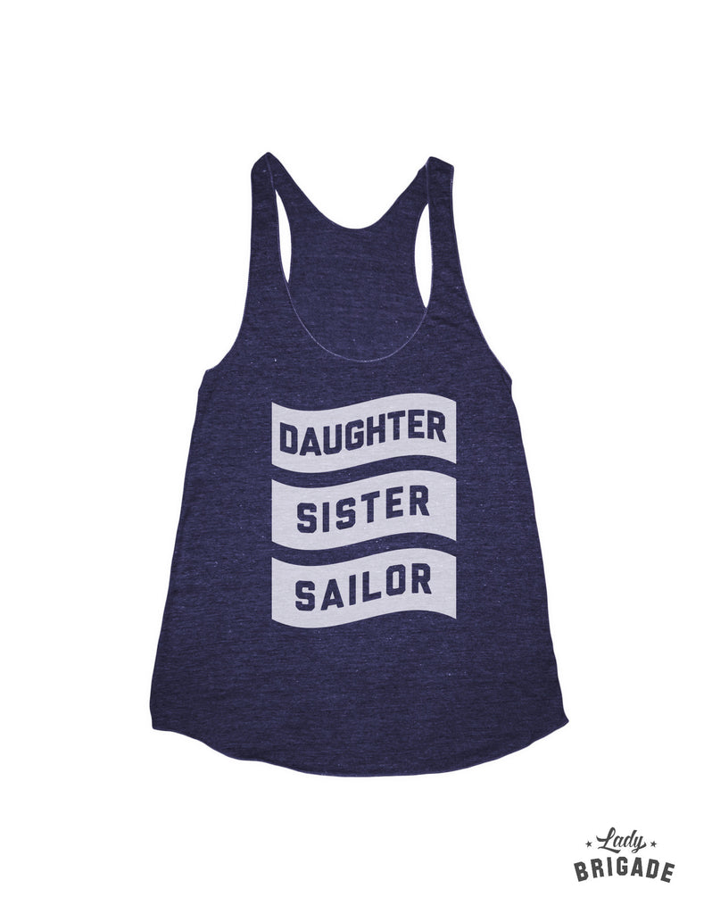 Daughter, Sister, Sailor Racerback Tank