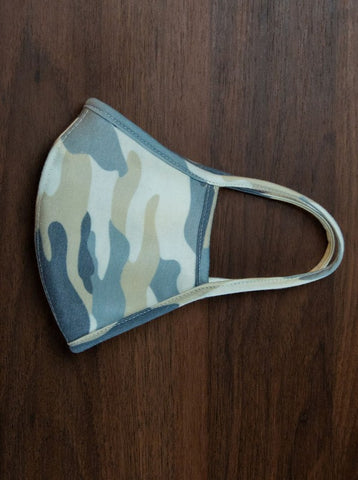 Folded view of facemask with camo print
