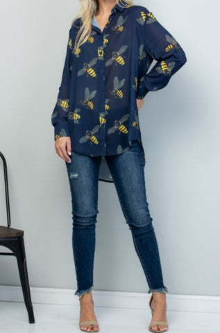 Long Sleeve Button-up All-over Bees Print Top