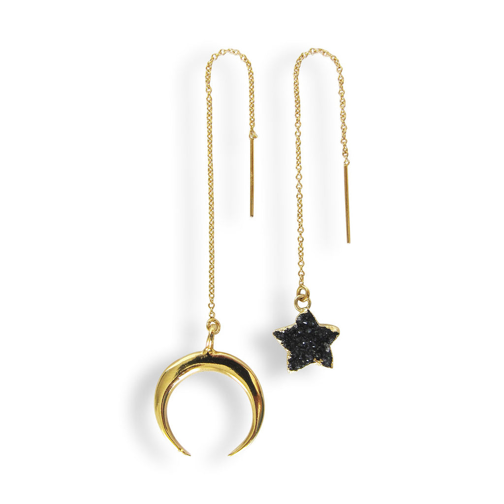 Paired Moon & Star Threader Earrings