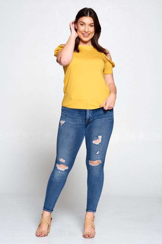 Open Shoulder with Peal-Ruffle Detail Top - Mustard