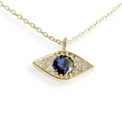 Lucky Blue Bejeweled Evil Eye Necklace