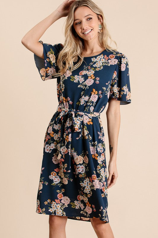 Navy Floral Crepe Dress - USA Made