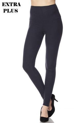 XPlus Super Soft Solid Ankle Leggings with 5-inch Waistband