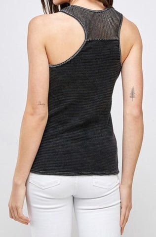 Waffle Thermal Tank with mesh in charcoal back