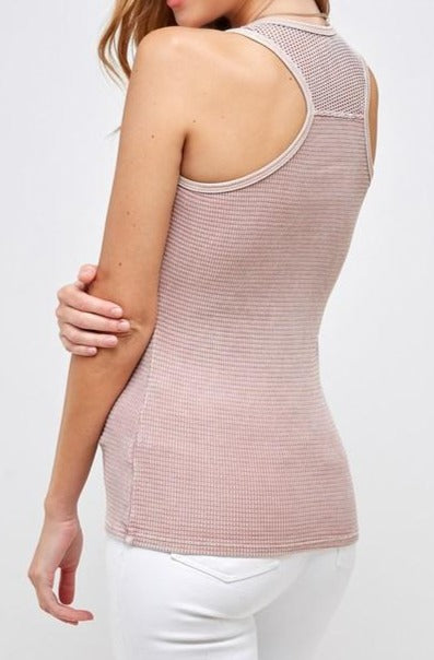 Waffle Thermal Tank with mesh in pink back view