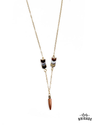 Golden Arrow Necklace with Recycled 17 Caliber Bullet