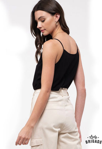 Black Scallop Button Camisole