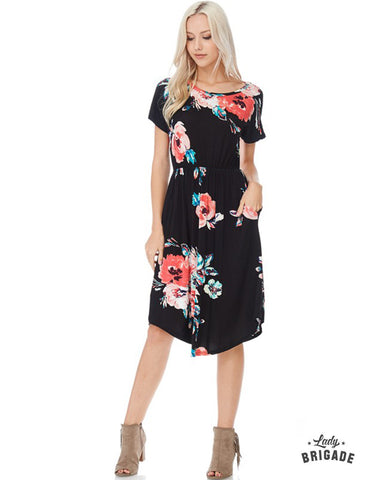 Floral Midi Dress in Black - USA Made