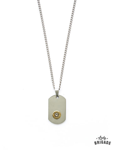 Stainless Steel Dog Tag Bullet Necklace