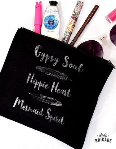 """Gypsy Soul Hippie Heart Mermaid Spirit"" Makeup Bag"