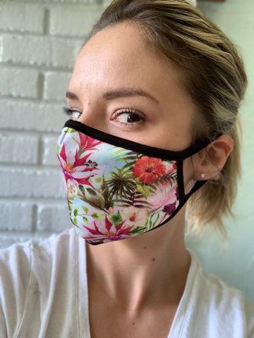 Tropical Print & Space Kitty Face Masks-Multilayered-USA Made