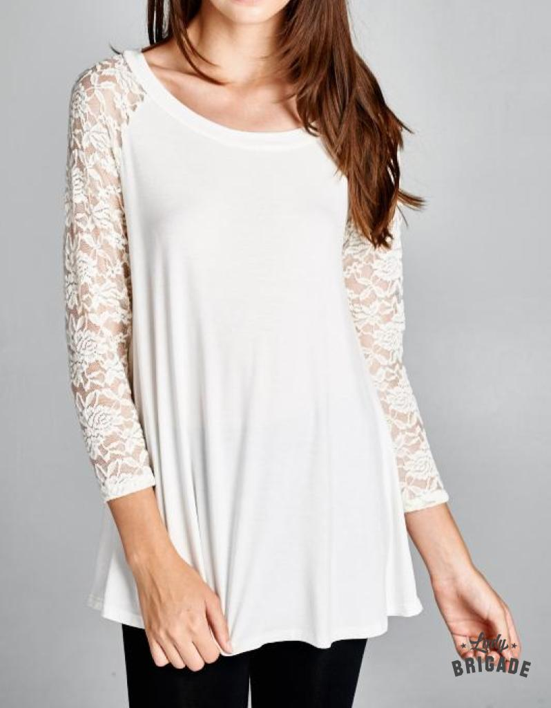 white top with lace sleeves front view