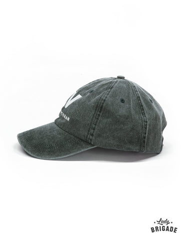 lady veteran hat faded olive side view