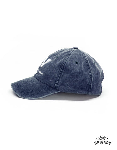 female military hat distressed navy side view