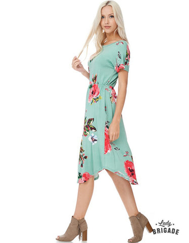 Floral Midi Dress in Caribbean Green - USA Made