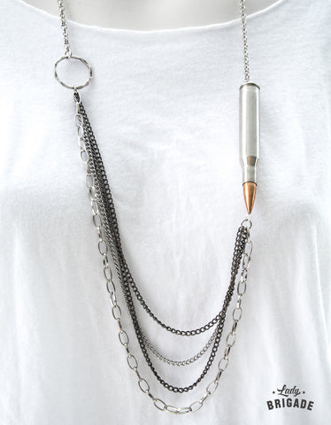 Layered Nickel Bullet & Casing Necklace