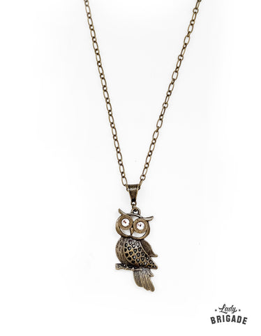 Brass .223 Bullet Owl Necklace