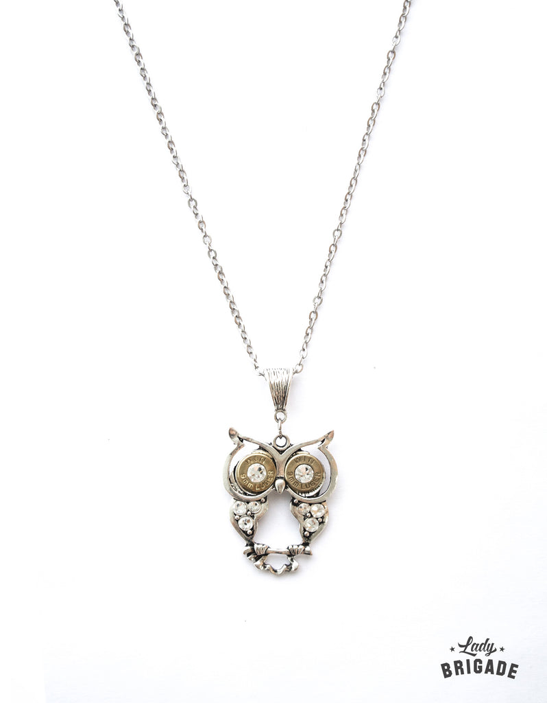 Silver Owl with 9mm Eyes Necklace
