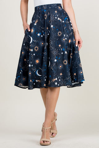 Galaxy and Stars Skirt with Pockets