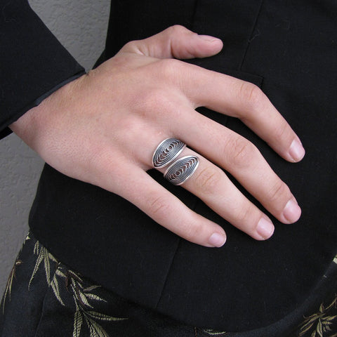 Silver Spiral Lattice Ring