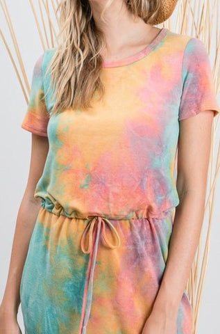 Casual Tie-Dye Drawstring Day Dress - USA Made