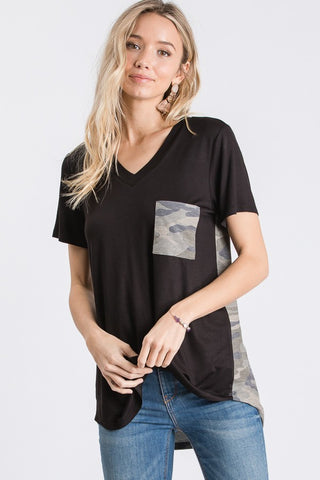 Black V Neck Tee worn by model front view