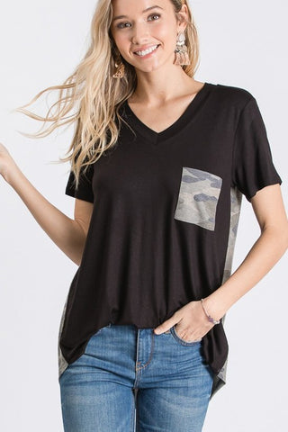 Alternate photo of black v-neck tee on model
