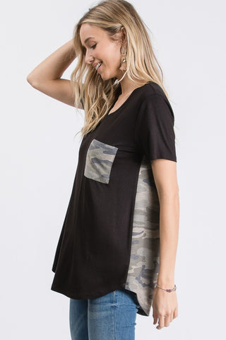 side view of v-neck tee with camo pocket worn by model