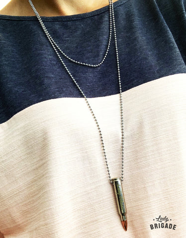 "Layered ""Lady Veteran"" Engraved 223 Bullet Pendant Necklace"