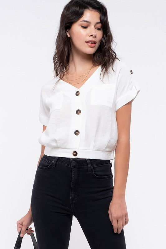 Cute Button Crop Top