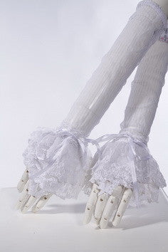 1019 Sheer Striped Lace Gloves