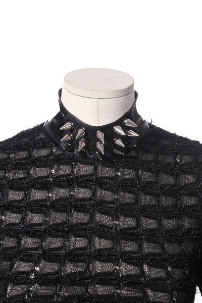21179 Gothic Spiked Collar Sweater