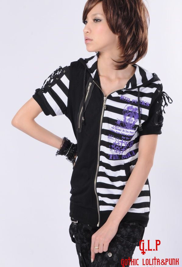 71211 Kitty Punk Striped Hoodie