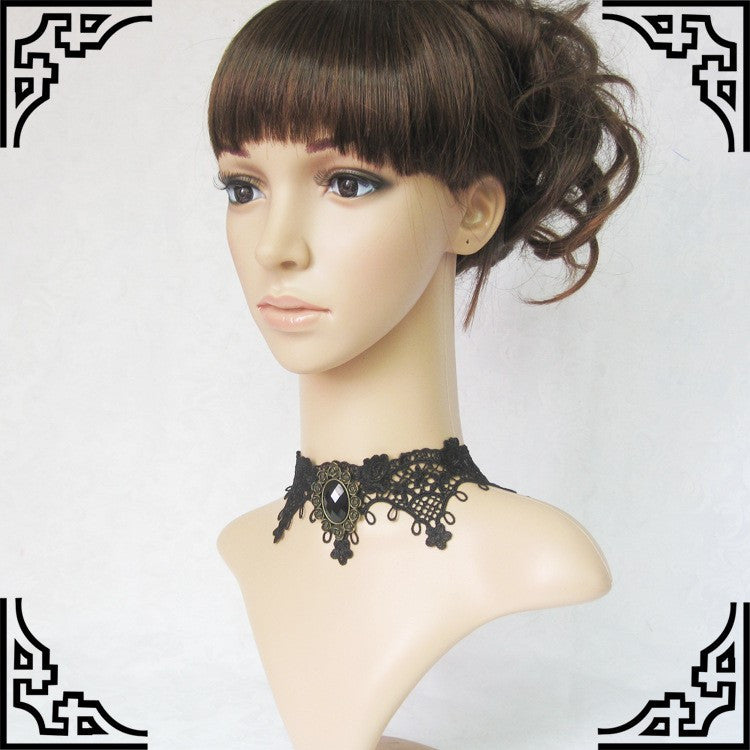 GY026 Lace & Jewel Choker