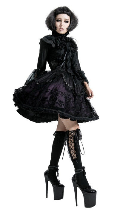 LQ-057 Deep Purple Lolita Lace Skirt